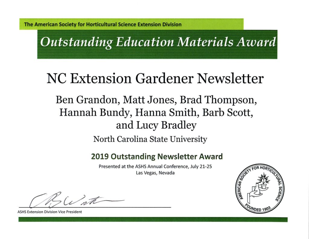 2019 ASHS Outstanding Newsletter Award