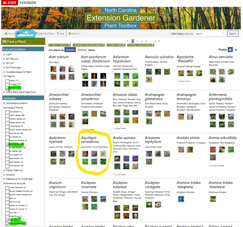 Screen Shot Find a Plant options hilighted and plant cirlced