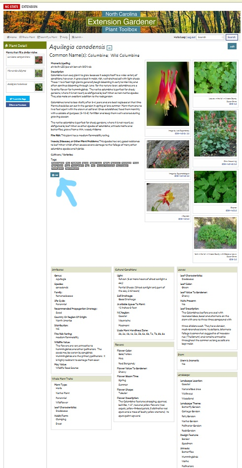 "Screen Shot Plant Profile with arrow pointing to ""Add"" Button"