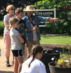 Students observe carnivorous plants at the Wilson Botanical Gardens.
